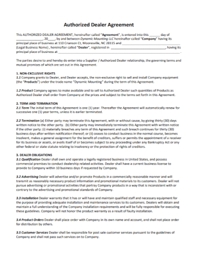 company authorized dealer agreement