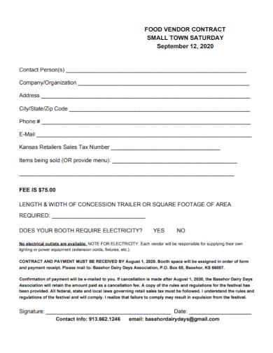 company food vendor contract