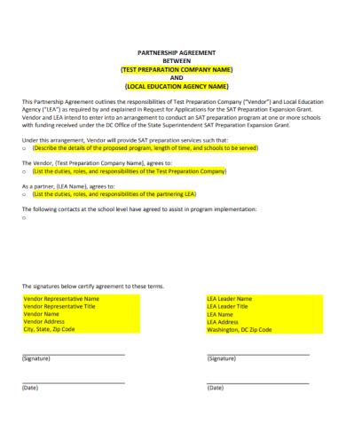 company vendor partnership agreement