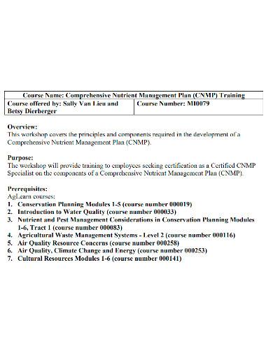 comprehensive training management plan