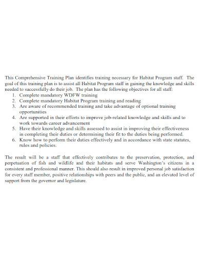 comprehensive training plan sample