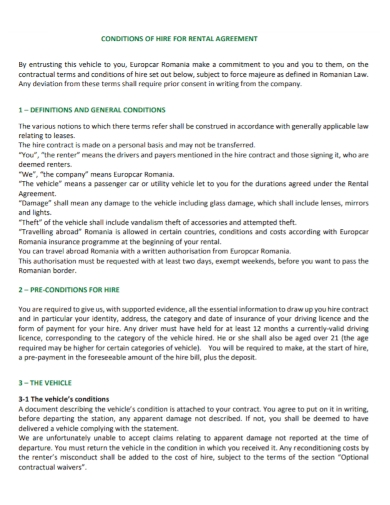 conditions for hire and rental agreement