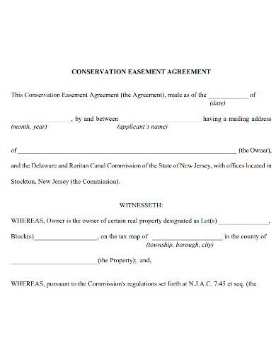 conservation easement agreement format