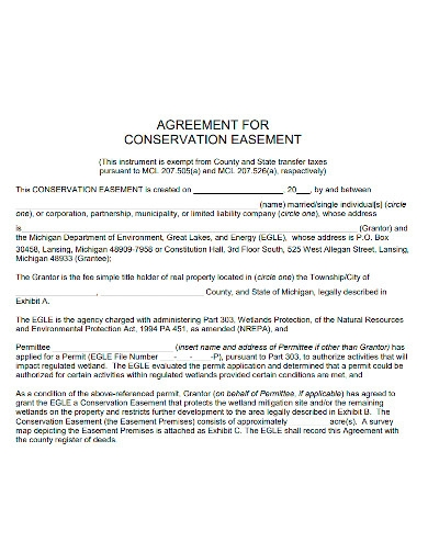 conservation easement agreement sample