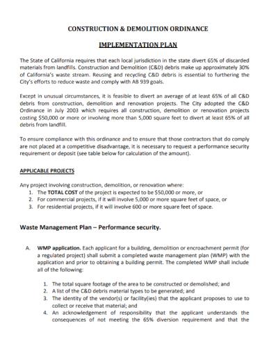 construction demolition implementation plan