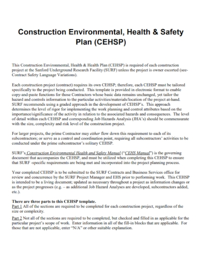 construction environmental health and safety plan