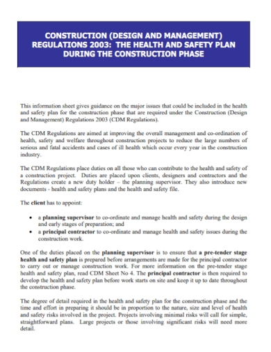 construction health and safety design plan