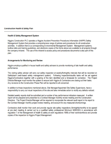 construction health and safety management plan