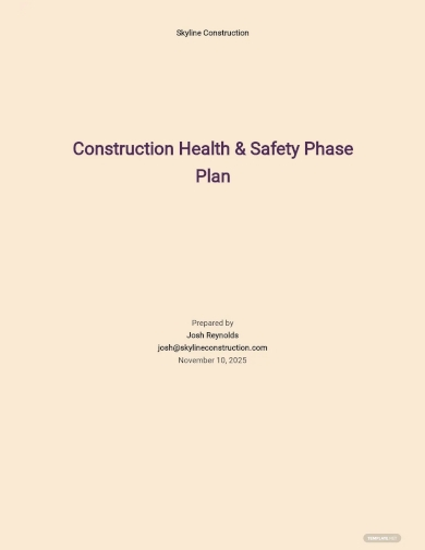 construction health and safety phase plan template