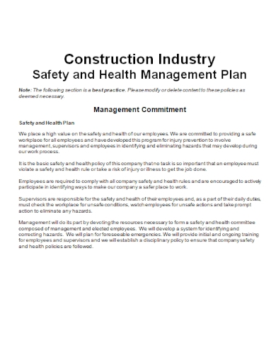 construction industry health and safety plan