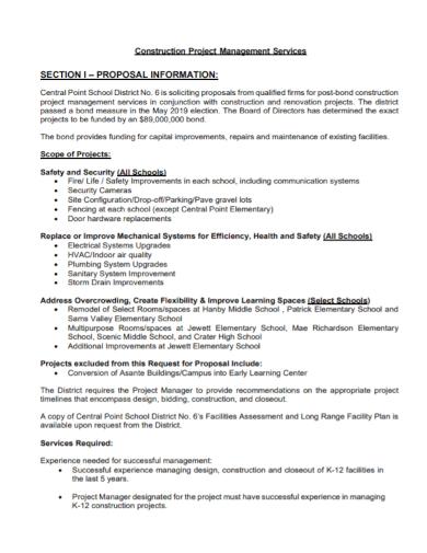 construction project management services proposal