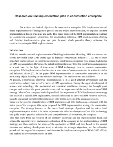 construction research implementation plan