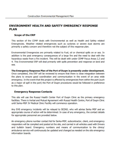 construction safety management emergency plan