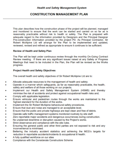 construction safety management system plan