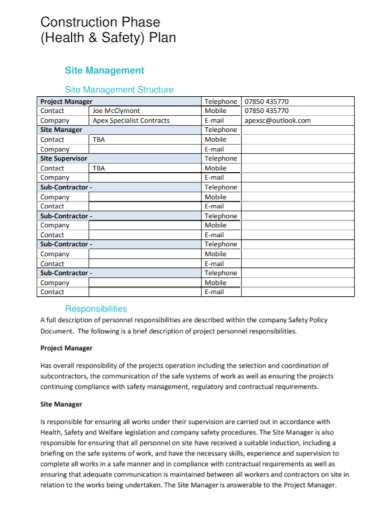 construction site health and safety phase plan