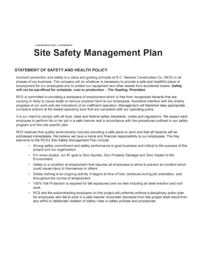 construction site safety management plan