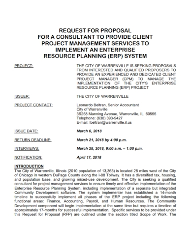 consultant project management request for proposal
