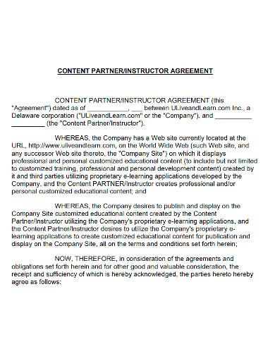 content partner instructor agreement