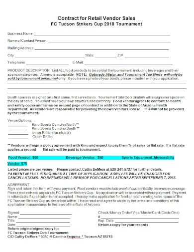 contract for retail vendor sales