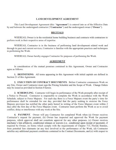 contractor land development agreement