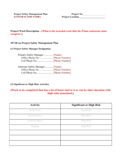 contractor project safety management plan