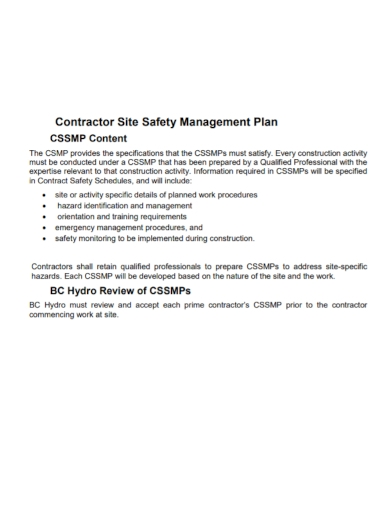 contractor site safety management plan