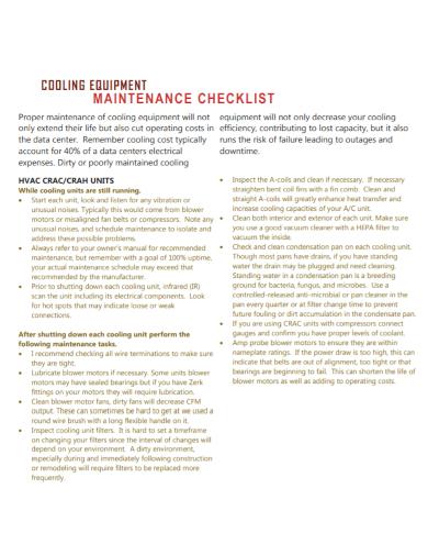 cooling equipment maintenance checklist