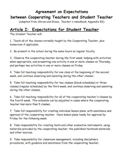 cooperating teacher student agreement