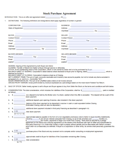 corporate stock sale and purchase agreement