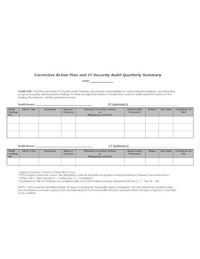 corrective quarterly audit action plan