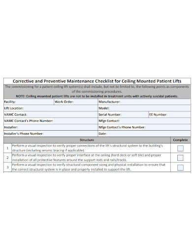 corrective and preventive maintenance checklist