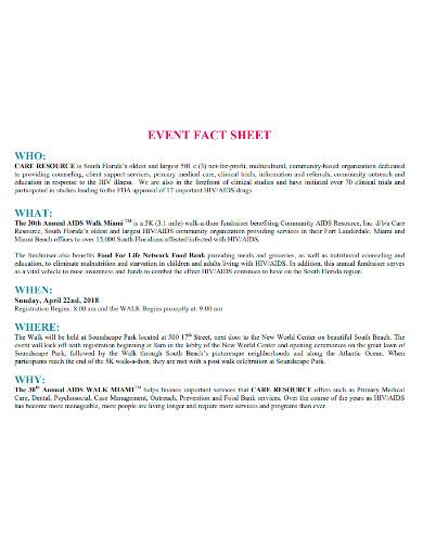 creative event fact sheet
