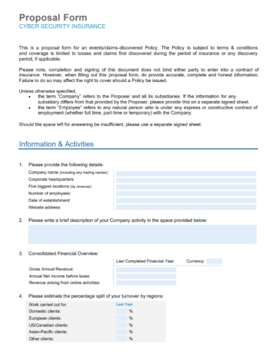 cyber security insurance proposal form