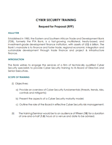 cyber security training request for proposal