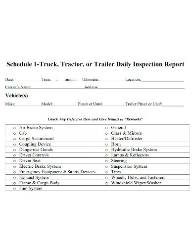 daily truck or tractor inspection report
