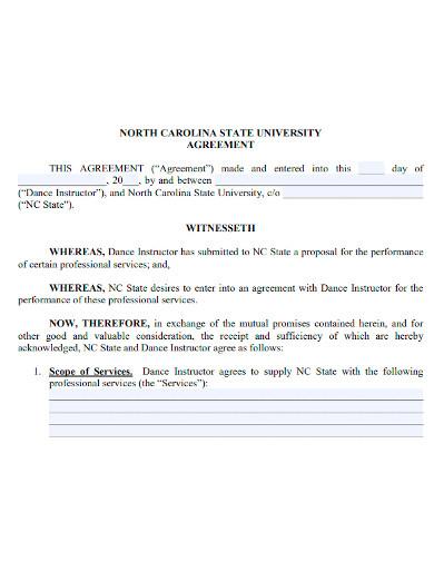 dance instructor agreement