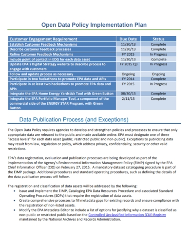 data policy implementation plan