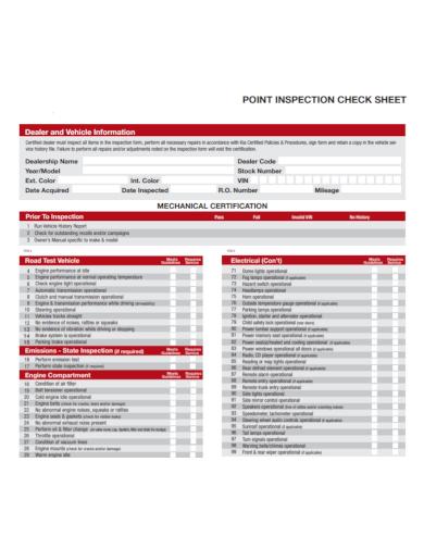 dealer vehicle information inspection check sheet