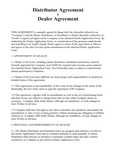 dealer and distributor agreement