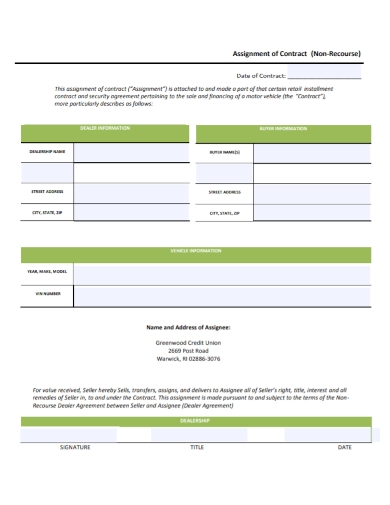dealership assignment of contract