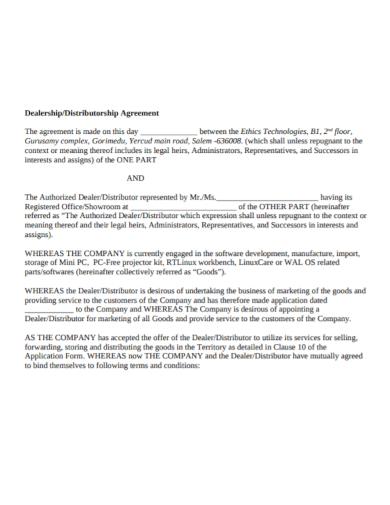dealership distributorship agreement