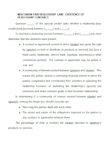 dealership existence contract