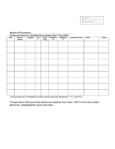 delivery vehicle cleanlineness inspection checklist