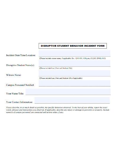 disruptive student behavior incident report