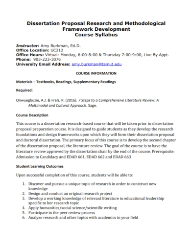 dissertation research course proposal