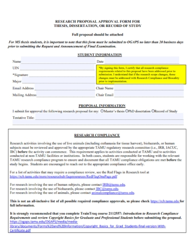 dissertation research proposal approval form