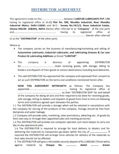 distributor dealer agreement