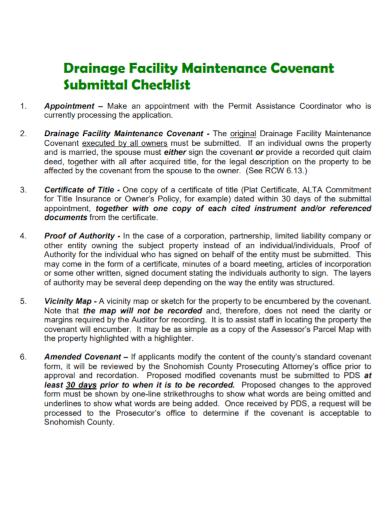 drainage facility maintenance checklist