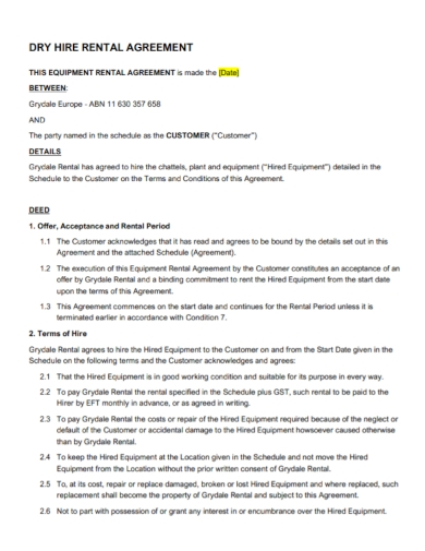dry equipment rental hire agreement