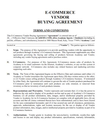 e commerce vendor buying agreement